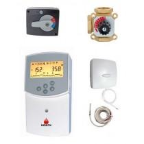 Kit de mélange vanne 3 voies 1''F régulateur Clima et thermostat d'ambiance filaire